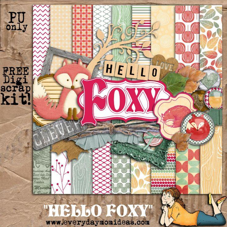 Hello Foxy (free digital scrapbooking kit!)