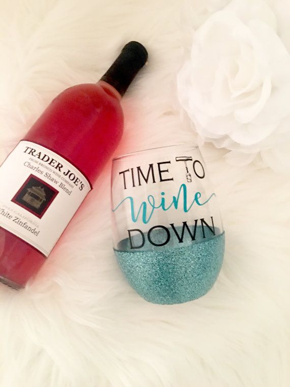 Time to Wine Down Stemless Glitter Wine Glass by WoodWorxDesigns