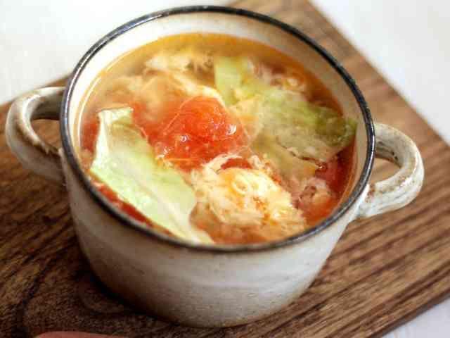 想像を超える?トマトレタス卵の3色スープの画像