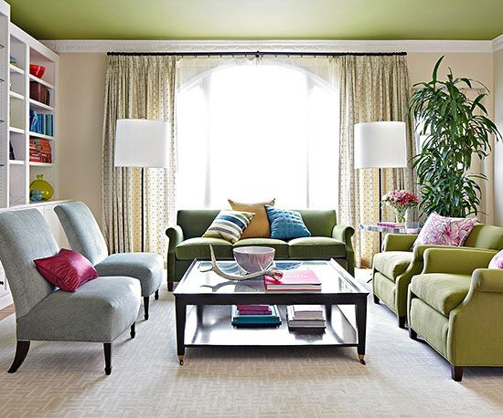 Earthy Green Living Room...Love the color on the ceiling, too!