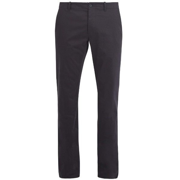Tomas Maier Slim-leg stretch-cotton chino trousers (680 BRL) ❤ liked on Polyvore featuring men's fashion, men's clothing, men's pants, men's casual pants, navy, mens navy blue pants, mens slim pants, mens chinos pants, old navy mens pants and mens slim fit chino pants