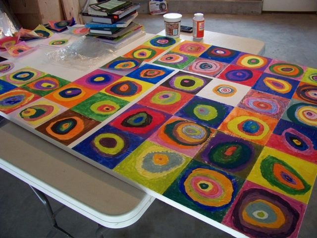 """candice ashment art: {tutorial} Our own Abstract Art Mural inspired by Wasily Kandinsky """"Circles"""""""