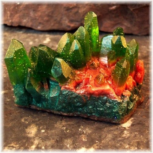 My gemstone soap, emerald tall crystal formation soap rock, soapsmith.artfire.com