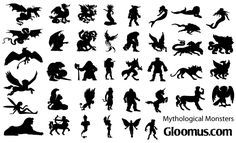 Free Mythological Monsters Vector Silhouettes
