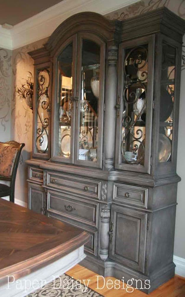 Coco Chalk Paint And Black Coffee Glaze Hutch | Glaze Furniture Rehab Ideas | Instant Facelift For Old Furnitures