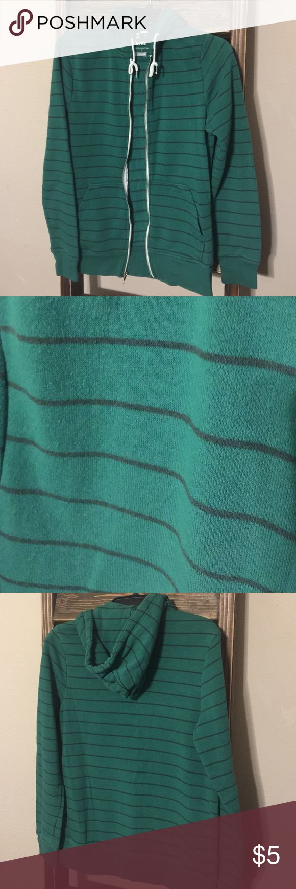 """Warm up Cozy Striped Hoodie Green and black striped zip up hoodie. Women's Small size. Bust measures 18"""" and length 26"""". Good, clean condition. No rips, tears or stains. Comes from smoke free home. Tops Sweatshirts & Hoodies"""