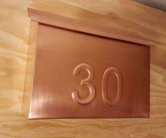 Large Copper Mailbox with embossed house numbers
