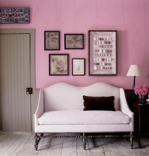 .Decor, Pink Walls, Colors, Pink Interiors, Interiors Design, Living Room, Pink Room, Studios Couch,  Day Beds