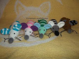 Kolorowe szydełkowe: Myszki kiszki + zimowy komplet
