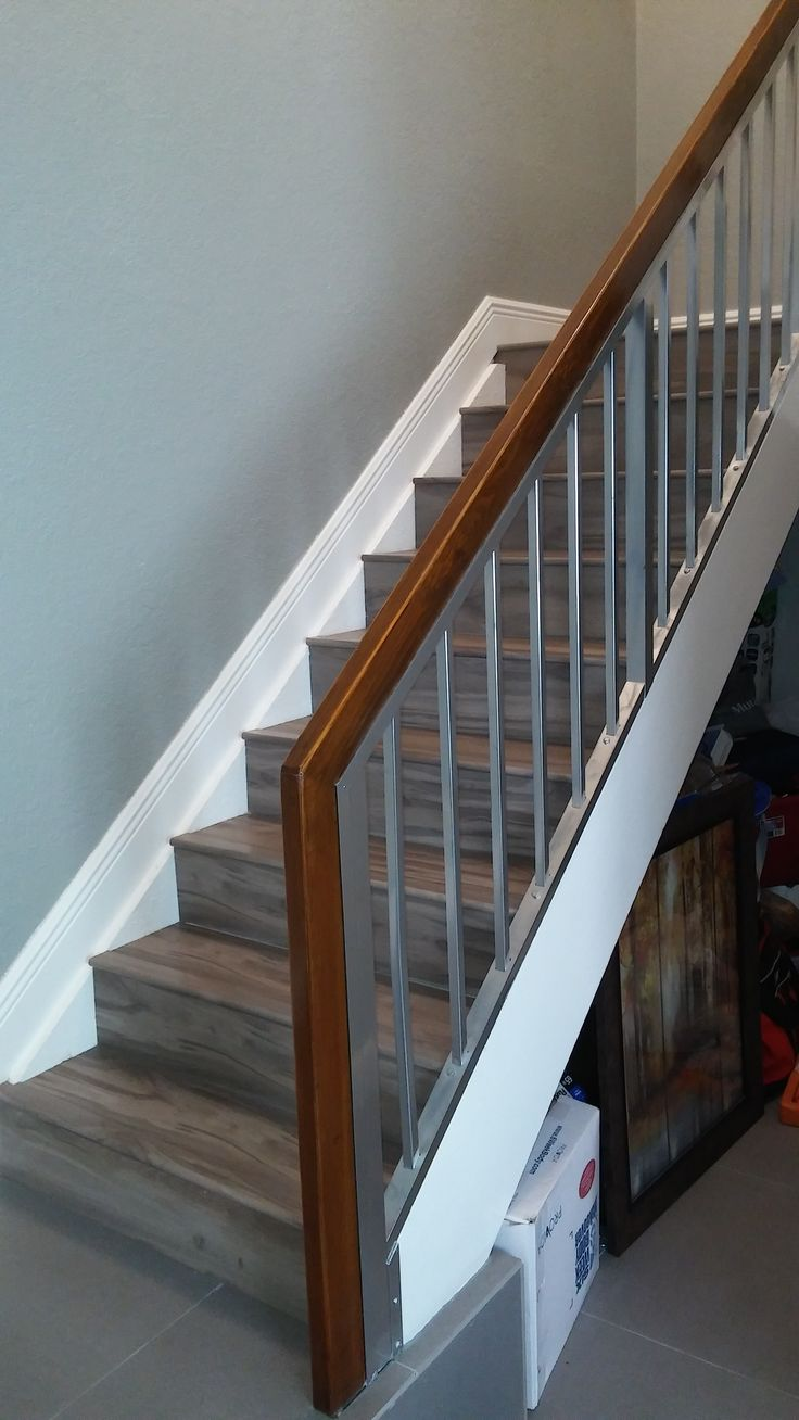 Best Loveatfirstsight Complete Modern Stair Rails Purchased Chrome Spray Paint From Home Depot And 400 x 300