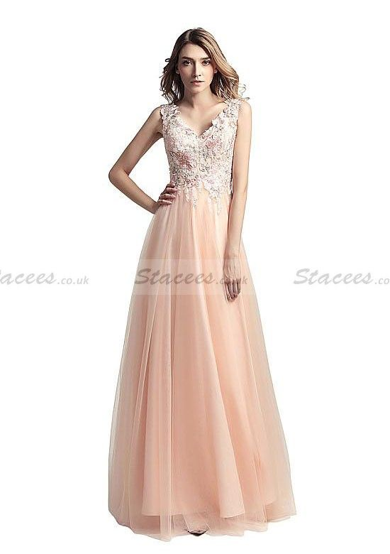 7d341d15b771 Tulle Prom Dress A-Line Princess V-Neck Long Floor-Length With  Appliqued! Stacees PromDress