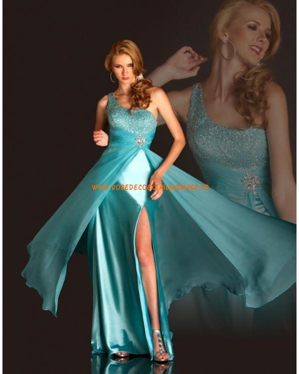 Boutique robe glamour cyan asymétrique mousseline satin stretch robe de soirée 2013