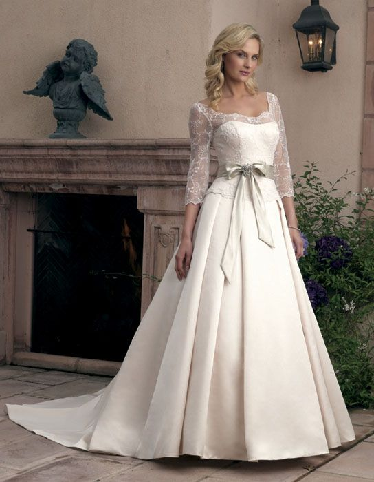 Elegant Casrin Bridal Satin Sleeves Scoop Neckline Semi Cathedral Train Floor Length A Line Princess Silhouette Wedding Dress Style 1800