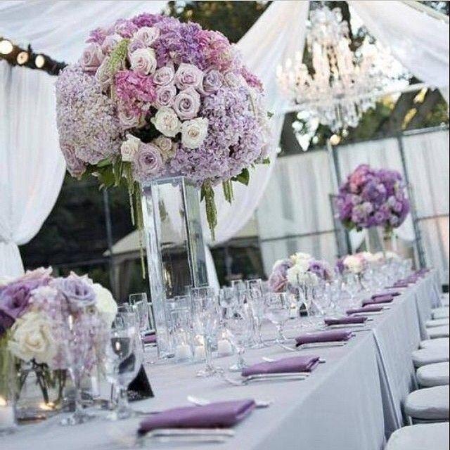Déco des tables du mariage Blanc & Lilas/Lavande qui peuvent être ...