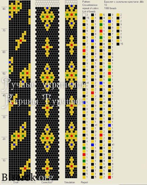 схема жгута с золотыми крестами на 10 бисерин