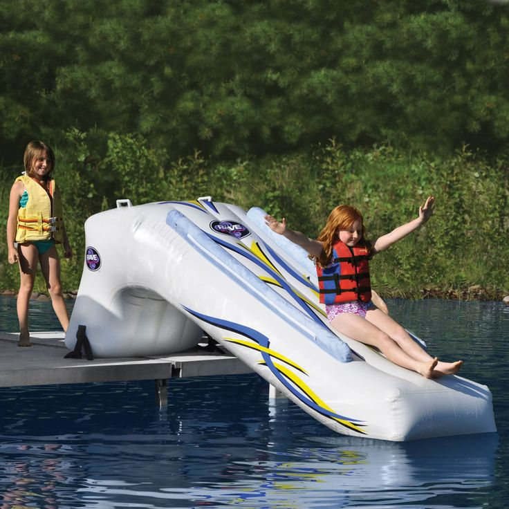 The Inflatable Lake Slide: Inflatable Lakes, Lakeh Life, Lakes Houses, Lakes Sliding, Hammacher Schlemmer, Lakes Stuff, Lakes Fun Ideas, Inflatable Sliding, Interesting Ideas