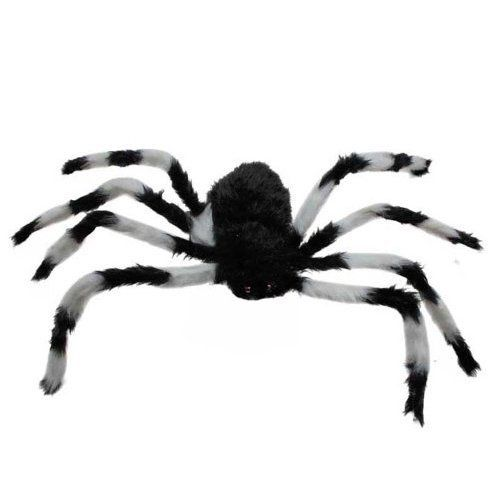 75cm large spider plush toy halloween decor black and white by generic - Spider Halloween Decorations