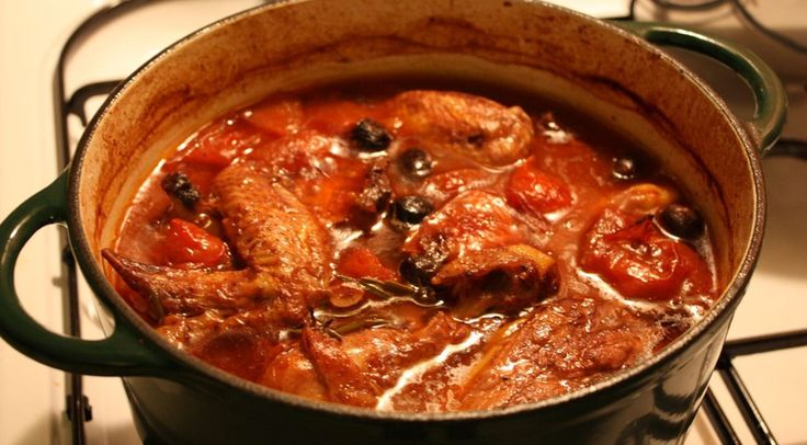Pollo alla cacciatora Ingredients  1,300 kg of chicken oil butter a shoot of rosemary a bay-leaf pepper a big onion three ripe hillside tomatoes 0.5 liter of broth