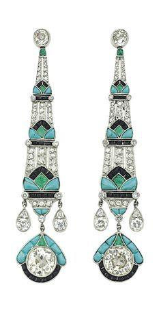 Turquoise, onyx, diamond earrings