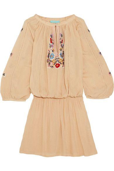 Melissa Odabash - Nadja Embroidered Voile Mini Dress - Beige -