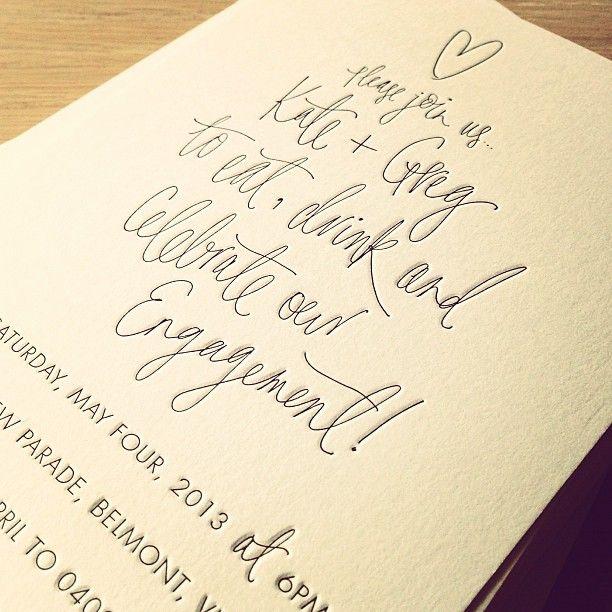 Peace, Love & Letterpress  Eat, drink and celebrate engagement invites #handwriting #handlettering #engagement #invitation #letterpress