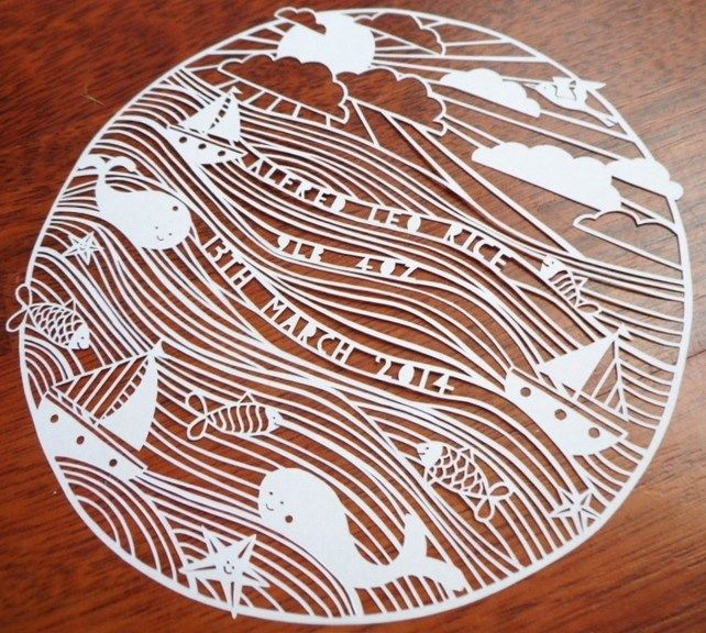 Seaside christening, naming day, baptism, new baby gift paper cut picture £30.00