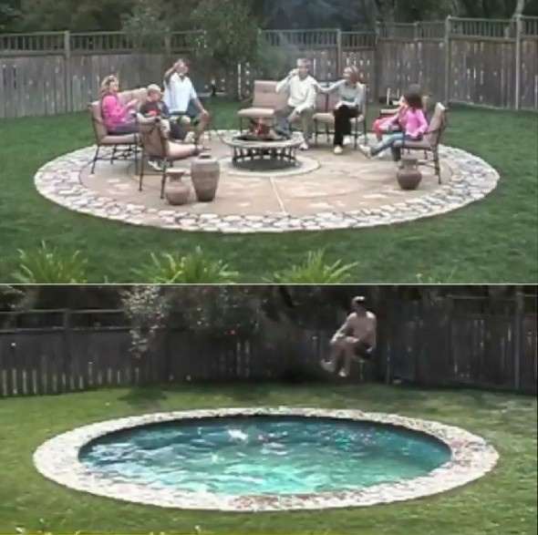 "Hidden Water Pools™. Depths: Splash Pool(depth 0""-12""), Paddling Pool / Spa (12""-36""), Full Depth/ Big Kid (50""-72"")"