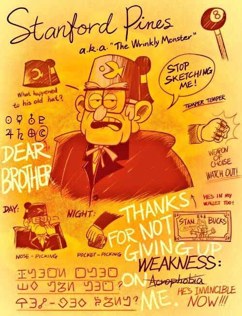 Stan.. dipper should find a page in a journal like this (Bill tore the page out leaving it for dipper to find)