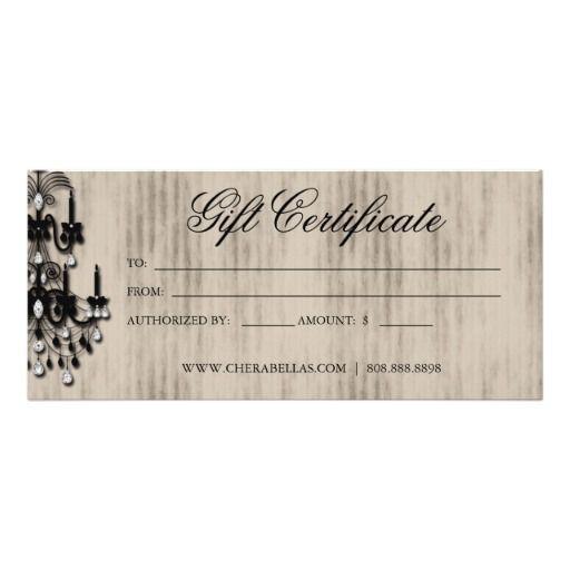 Gift Certificate Chandelier Nail Hair Salon Rack Cards
