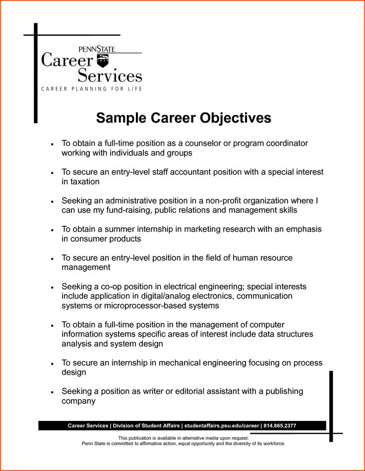 Ms De  Ideas Increbles Sobre Resume Career Objective En