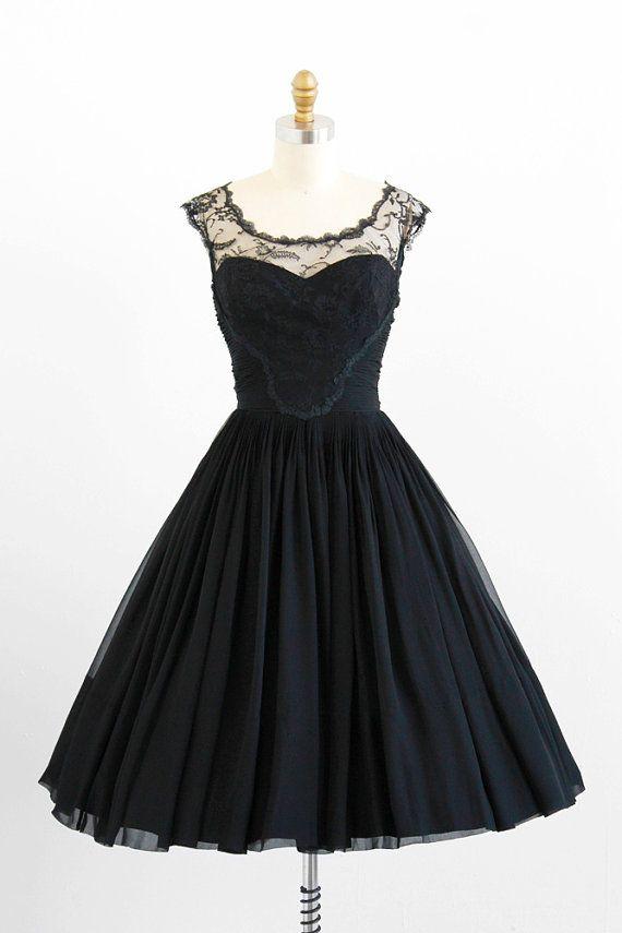 vintage 1950s black silk chiffon + chantilly lace illusion dress by Karen Stark for Harvey Berin.