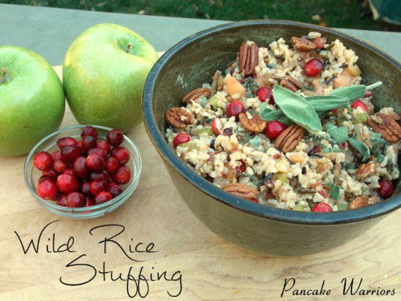 Wild Rice Stuffing with Cranberries, Apples and Pecans - Vegetarian and healthy! perfect for Thanksgiving!