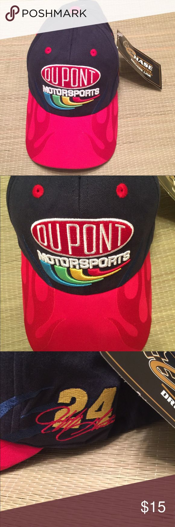 NWT vintage NASCAR racing dad hat Jeff Gordon New with tags. Amazing hat in person! Vintage dad hat Chase Authentics vintage NASCAR hat from 90s. Vibrant color and super sturdy bill (with flames detail) embroidered logos. flex fit comfort. Definitely a comfortable hat. No flaws at all new condition. Red blue white yellow multicolor Jeff Gordon #24 DuPont NASCAR hat. 💕perfect with a vintage windbreaker  for 90s style 💕💕price firm ships next day.  Tags: vintage Nike hat 90s vintage…