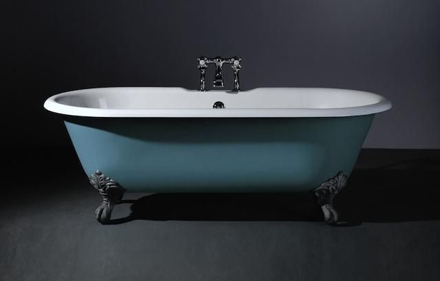 Rimini Cast Iron Baths - double ended Astonian Rimini 1700x785mm no-taphole cast iron roll top bath white with ball and claw feet Superior exterior finish