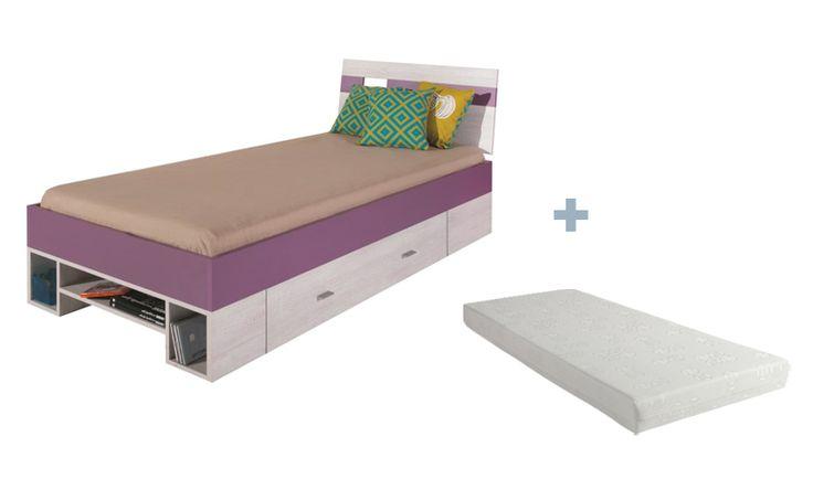 Lit adolescent violet en bois mélaminé avec matelas mousse et sommier