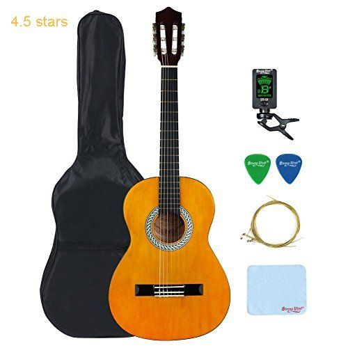 3/4 Size Classical Acoustic Guitar Strong Wind 36 Inch 6 Nylon Strings Guitar Beginner Kit Guitar Starter Pack with Tuner Picks Carrying bag Strings and Cleaning Cloth for Students Children Adult