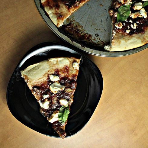 Interesting use for rhubarb - Savory Rhubarb and Goat Cheese Pizza