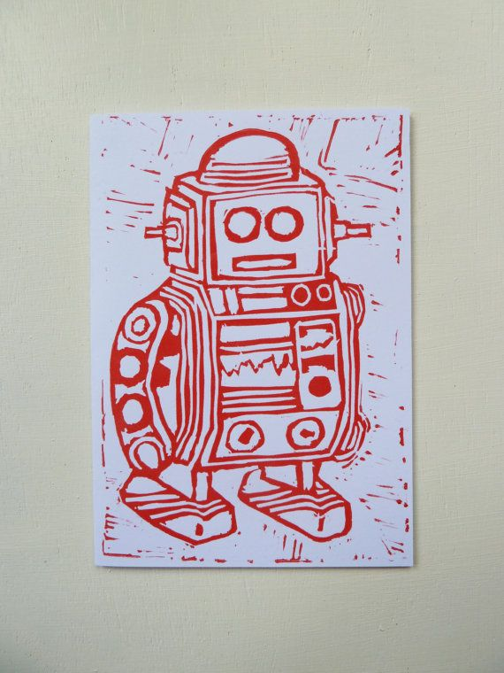 These Lino Print Robot Cards are designed and illustrated by Rachel Ali Hawkins. Hand printed so each one is unique and may differ slightly to the ones seen in the picture.  The cards are blank inside which means these cards can be used for birthdays, thank you cards and many other occasions.  They measure approx 105mm x 148mm and come in a protective cellophane bag with a plain white envelope. Printed onto thick 350gsm, FSC credited paper stock.