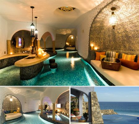 If you love a house with an infinity edge pool and with underground grotto entertainment, you will be crazy about this house designed by VITA. Underneath the pool that blends with the Pacific Ocean, you'll find a Turkish bath inspired entertainment grotto that has a bar, TV and lounging alcoves, a spa, and decorated with detailed handmade tiles, with stone columns, and light fixtures that make this a cool house to live in!