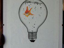 Zeichnung Fisch in Lampe (Original - Bleistift)