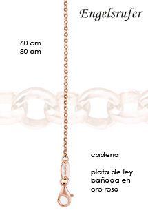 Cadenas de plata de ley bañada en oro rosa de la firma Engelsrufer disponible en 60 y 80 cm. Perfecta para colgarte tus llamadores de ángeles.