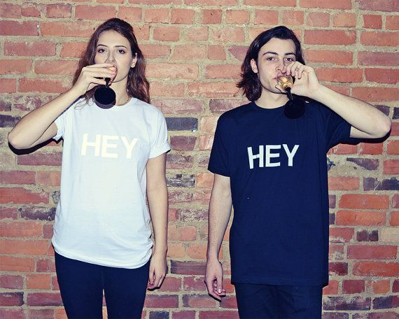 Reflective HEY T-shirt  Applique Typographic by SkinnySweatsShop