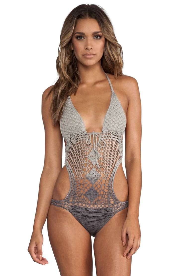 Lisa Maree The Throwback Crochet Swimsuit en Acid Black Ombre