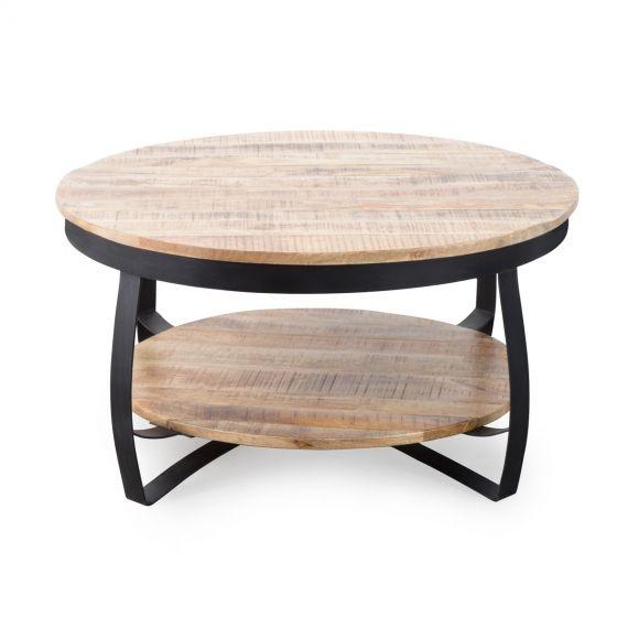Table Basse Industrielle Ronde Bois Et Metal Deux Plateaux Table
