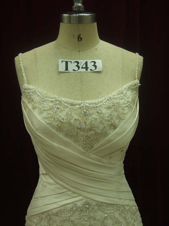 Beautiful Ivory Wedding Dress with Straps Custom Made to your Measurements