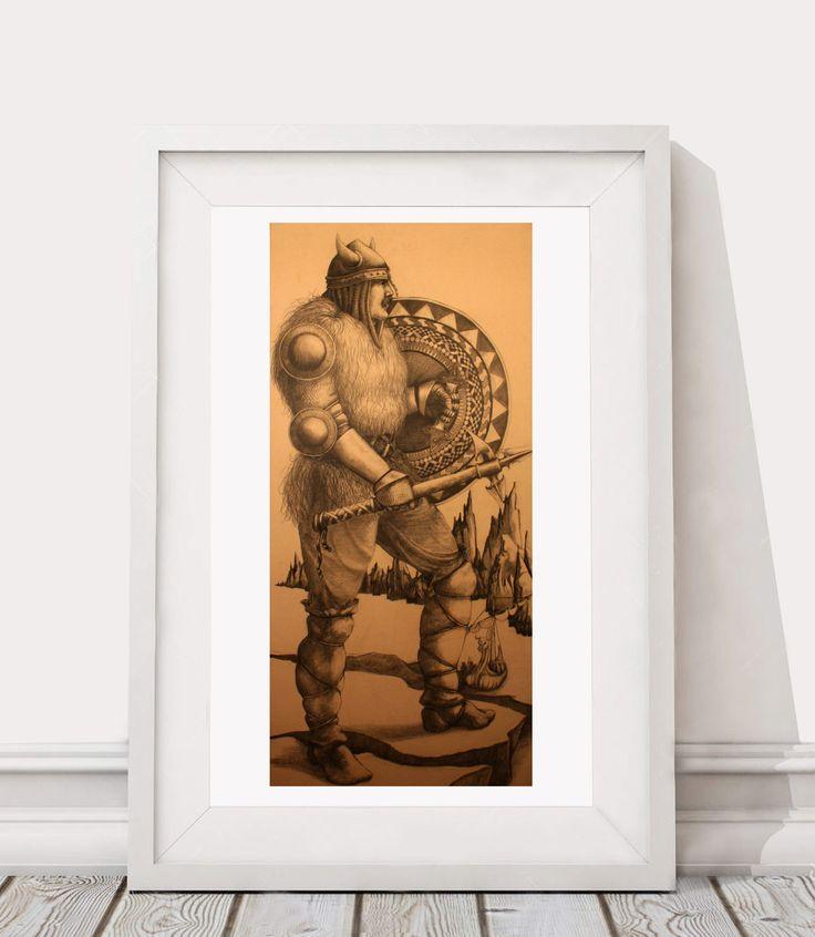 Thor Viking Warrior - Print, drawing, illustration, graphite, pencil, male, home, office, decor, wall art by DouglasKnabStudios on Etsy