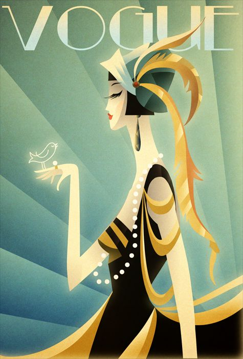 Art Deco- I love the style of this piece and the sense of elegance and chic it emits which is relevant to the magazine it is for. (Vogue is a highly respected fashion magazine)