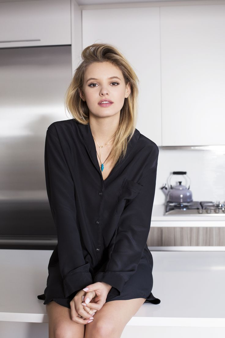 Paige Reifler models our Audrey nightshirt in black. This silk charmeuse pajama set (matching pants/shorts not pictured) is from the Alessandra Mackenzie 2015 autumn/winter collection. Photographed in New York City by @SophieElgort. Hair: Matt Fugate; Makeup: @ElaineMadelon; Styling: Julia Sergeon; Photography Assistant: Maddy Talias. Shot on location in NYC.