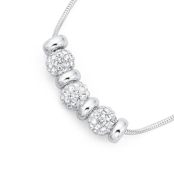 Silver 45cm Crystal Necklet