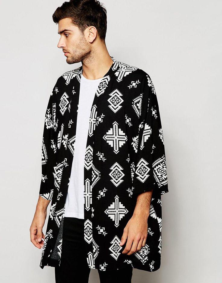 ASOS+Kimono+With+Ikat+Print+In+Black